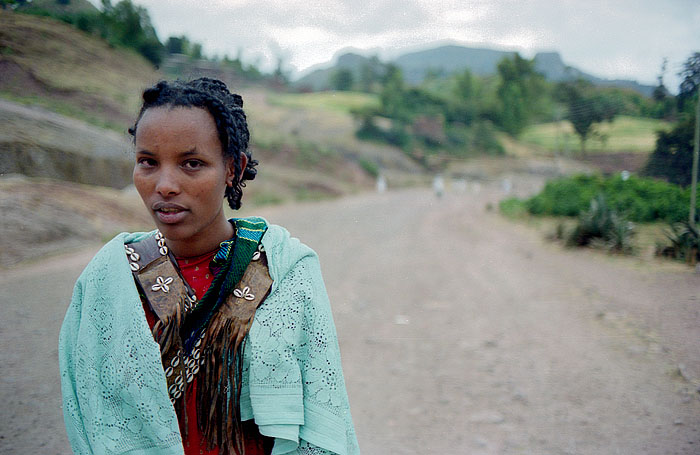 Young girl on the main street in Lalibela, Ethiopia
